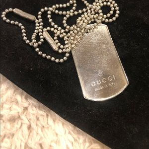 Gucci Sterling Dog Tag Necklace